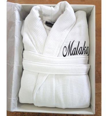 malaka waffle robe embroidered