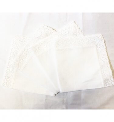 white handkerchief with lace trim