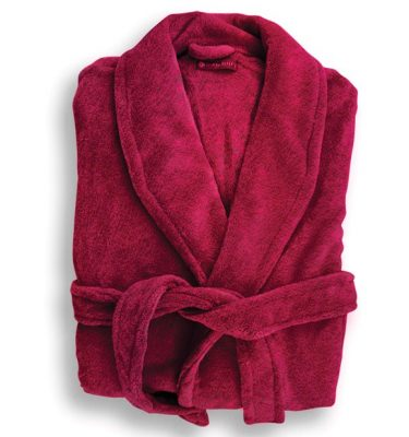 Red bathrobe dressing gown