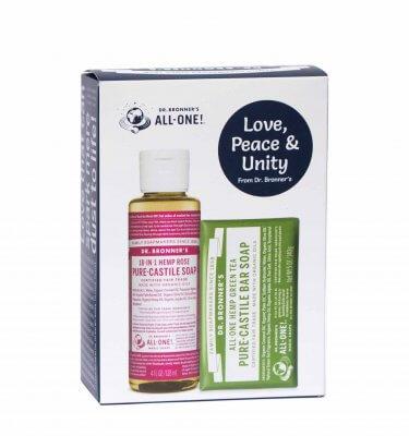 Dr Bronner Castile Soap Gift Pack Rose GreenTea