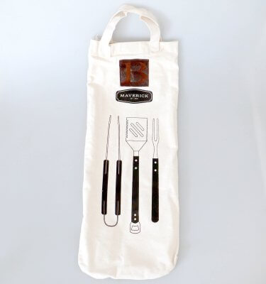 BBQ Set Calico Bag with Leather Engraving Patch Full Size