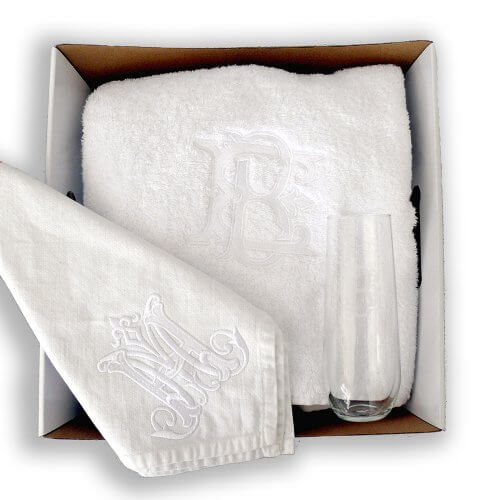 Monogrammed Gift Package Embroidered Towel Engraved Champagne Flute Embroidered Table Linen