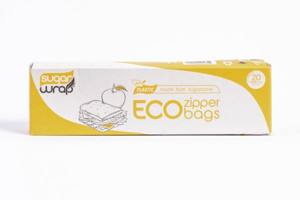 SugarWrap Zipper Bags Large 20 Made from Sugarcane